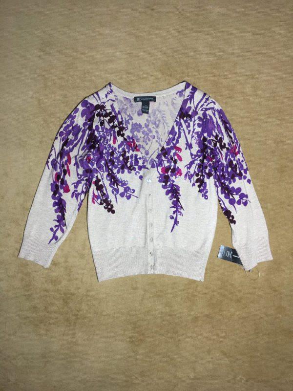 Áo khóac len nữ hiệu I.N.C màu xám hoa văn có đính hạt cườm size S chính hãng