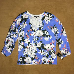 Áo khóac len nữ hiệu I.N.C màu xanh họa tiết hoa size M chính hãng