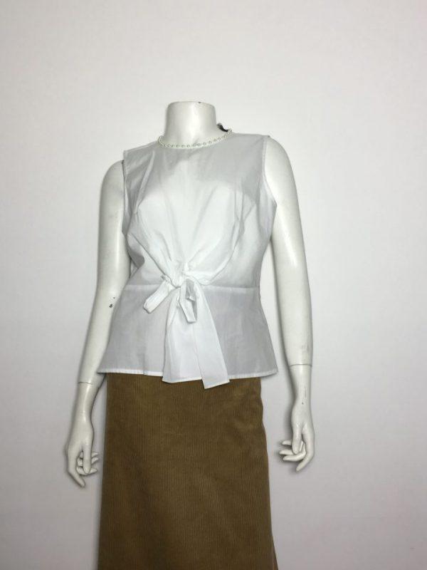Áo-kiểu-nữ-hiệu-Karllagerfeld-không-tay-cổ-tròn-đính-hạt-cườm-màu-trắng-size-XS-chính-hãng