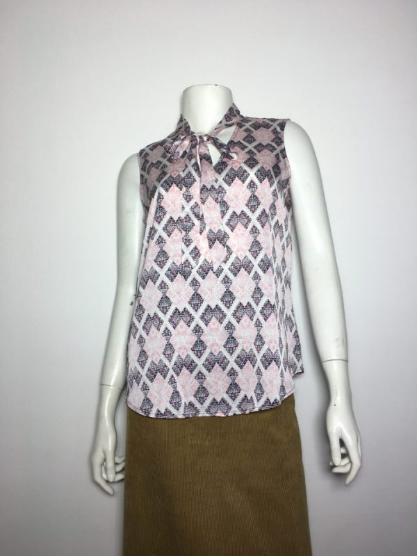 Áo kiểu nữ hiệu Nine West không tay cổ tim thắt nơ họa tiết caro size XS chính hãng