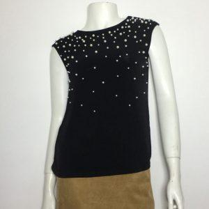 Áo-kiểu-thun-nữ-hiệu-Calvin-Klein-không-tay-cổ-thuyền-đính-hạt-cườm-màu-đen-size-XS-chính-hãng