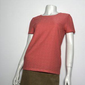 Áo-kiểu-thun-nữ-hiệu-Calvin-Klein-tay-ngắn-cổ-tròn-màu-đỏ-cam-sọc-kim-tuyến-size-XS-chính-hãng