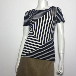 Áo kiểu thun nữ hiệu Calvin Klein tay ngắn cổ tròn sọc trắng đen size XS chính hãng