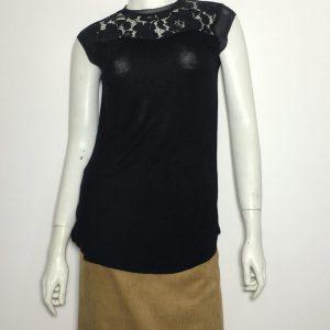 Áo-kiểu-thun-nữ-hiệu-Carmen-tay-ngắn-cổ-ren-màu-đen-size-XS-hàng-chính-hãng