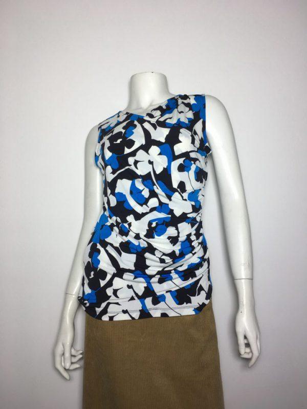 Áo kiểu thun nữ hiệu DKNY không tay họa tiết hoa size XS chính hãng