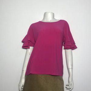 Áo kiểu thun nữ hiệu I.N.C tay ngắn cổ tròn màu hồng size S chính hãng.