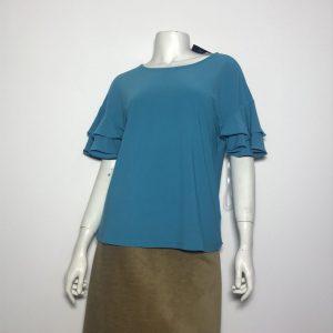 Áo kiểu thun nữ hiệu I.N.C tay ngắn cổ tròn màu xanh size S chính hãng