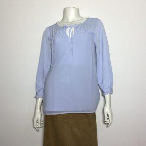 Áo kiểu thun nữ hiệu Karllagerfeld tay dày cổ thắt nơ màu xanh da trời size XS chính hãng