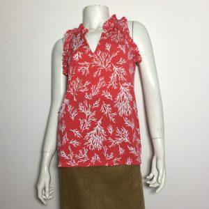 Áo-kiểu-thun-nữ-hiệu-Michael-không-tay-cổ-tim-màu-đỏ-đậm-họa-tiết-size-XS-chính-hãng