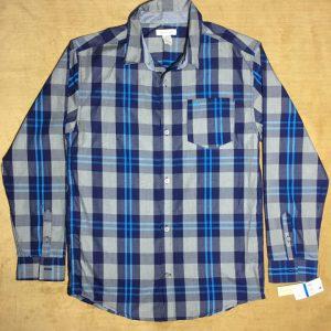 Áo-sơ-mi-nam-Calvin-Klein-Jeans-bằng-cotton-tay-dài-sọc-caro-màu-xám-size-XL-chính-hãng