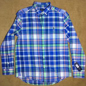 Áo-sơ-mi-nam-Ralph-Lauren-bằng-100-cotton-tay-dài-sọc-caro-màu-xanh-size-XL-chính-hãng