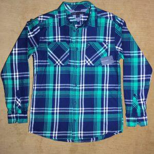 Áo-sơ-mi-nam-Tommy-Hilfiger-100-cotton-tay-dài-sọc-caro-màu-xanh-size-L-chính-hãng