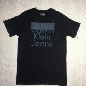 Áo thun Calvin Klein Jeans 100% cotton cổ tròn ngắn tay màu đen có in chữ size XL chính hãng_trước