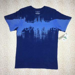 Áo thun Calvin Klein Jeans 100% cotton cổ tròn ngắn tay màu xanh có in chữ size L chính hãng_trước