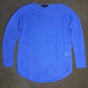 Áo thun len nam hiệu I.N.C dài tay cổ tròn màu xanh da trời size PS chính hãng