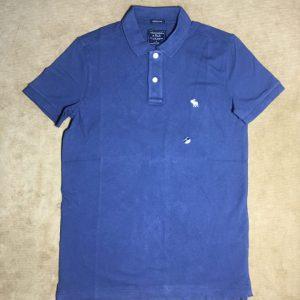 Áo thun nam Abercrombie&Fitch 100% cotton cổ bẻ ngắn tay màu xanh đậm size S chính hãng
