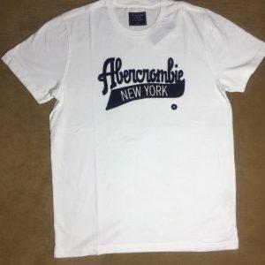 Áo thun nam Abercrombie&Fitch 100% cotton cổ tròn ngắn tay màu trắng size M chính hãng