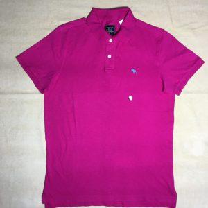 Áo-thun-nam-AbercrombieFitch-cotton-cổ-bẻ-tay-ngắn-màu-hồng-size-M-chính-hãng