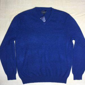 Áo-thun-nam-Club-Room-bằng-cashmere-cổ-tim-tay-dài-màu-xanh-size-L-chính-hãng