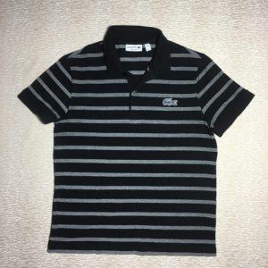 Áo thun nam Lacoste 100% cotton cổ bẻ ngắn tay màu đen sọc trắng size L chính hãng_trước