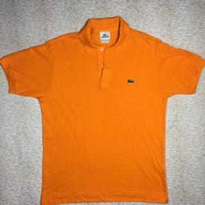 Áo thun nam Lacoste 100% cotton cổ bẻ ngắn tay màu cam size L chính hãng_trước