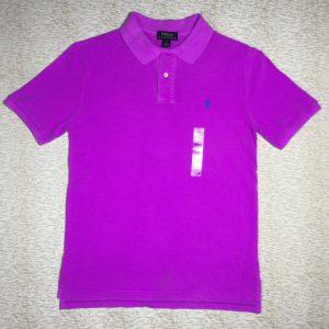 Áo thun nam Polo Ralph Lauren 100% cotton cổ bẻ ngắn tay màu tím size L chính hãng