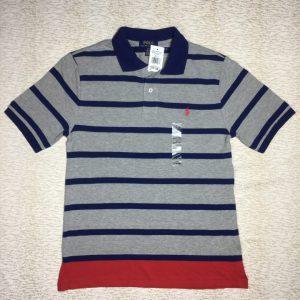 Áo thun nam Polo Ralph Lauren 100% cotton cổ bẻ ngắn tay màu xám sọc xanh size L chính hãng_trước