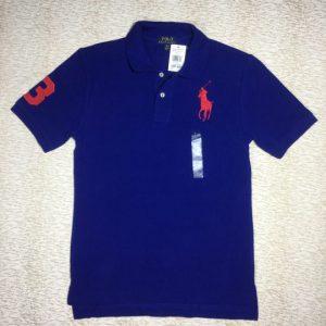 Áo thun nam Polo Ralph Lauren 100% cotton cổ bẻ ngắn tay màu xanh dương size L chính hãng