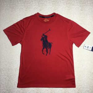 Áo thun nam Polo Ralph Lauren cổ tròn tay ngắn màu đỏ size L chính hãng_trước