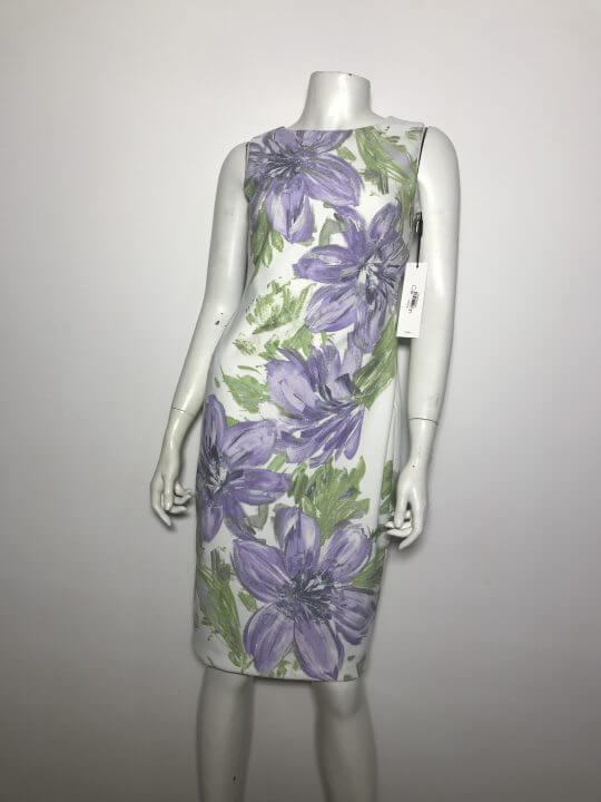 Đầm-body-dự-tiệc-công-sở-nữ-hiệu-Calvin-Klein-không-tay-màu-trắng-họa-tiết-hoa-màu-tím-size-2-chính-hãng