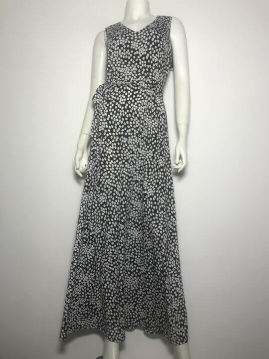 Đầm-dài-dự-tiệc-nữ-hiệu-DKNY-cổ-tim-không-tay-màu-đen-họa-tiết-size-4-chính-hãng