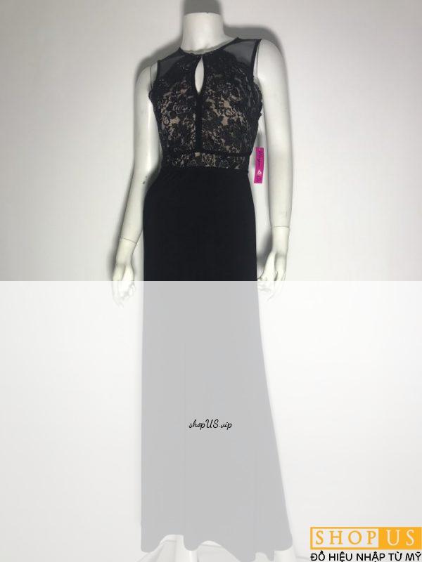 Đầm-dài-dự-tiệc-nữ-hiệu-MorganCo-đính-kim-sa-sát-nách-màu-đen-size-5-chính-hãng