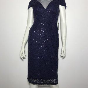 Đầm-dự-tiệc-nữ-hiệu-Marina-đính-kim-sa-tay-ngắn-màu-xanh-đậm-size-4-chính-hãng