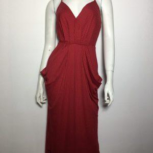 Đầm-dự-tiệc-nữ-thun-hiệu-BCBG-2-dây-cổ-tim-nhấn-eo-màu-đỏ-size-XXS-chính-hãng
