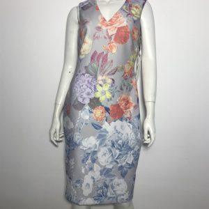 Đầm-ngắn-body-công-sở-dự-tiệc-nữ-hiệu-Calvin-Klein-không-tay-màu-xám-họa-tiết-hoa-nhiều-màu-size-6-chính-hãng