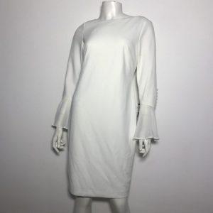 Đầm-ngắn-body-công-sở-dự-tiệc-nữ-hiệu-Calvin-Klein-tay-dài-ống-loa-màu-trắng-size-40P-chính-hãng