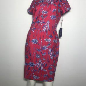 Đầm-ngắn-công-sở-dự-tiệc-nữ-hiệu-Tommy-Hilfiger-tay-ngắn-màu-đỏ-họa-tiết-hoa-lá-size-8P-chính-hãng