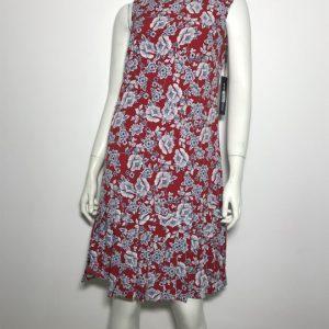 Đầm-ngắn-dự-tiệc-công-sở-nữ-hiệu-Karllagerfeld-không-tay-màu-đỏ-họa-tiết-hoa-size-2-chính-hãng