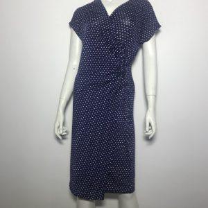Đầm-ngắn-dự-tiệc-công-sở-nữ-hiệu-Ttahari-tay-ngắn-màu-xanh-chấm-bi-trắng-size-6-chính-hãng