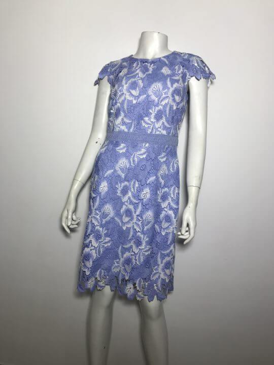 Đầm-ren-ngắn-công-sở-dự-tiệc-nữ-hiệu-Karllagerfeld-tay-ngắn-màu-xanh-họa-tiết-hoa-size-4-chính-hãng