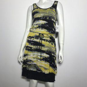 Đầm-thun-công-sở-dự-tiệc-nữ-hiệu-Kensie-không-tay-màu-vàng-đen-size-S-chính-hãng