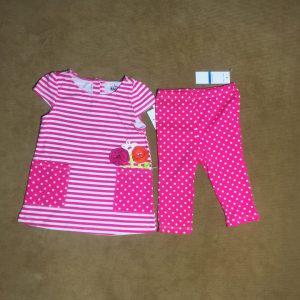 Đồ bộ bé gái tay ngắn hiệu Kid Headquarter màu hồng size 24M chính hãng