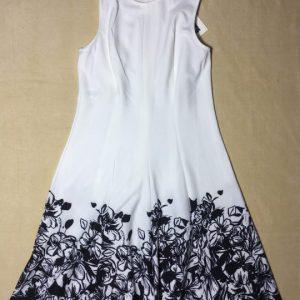 Đầm-nữ-công-sở-dự-tiệc-nữ-màu-trắng-chân-đầm-in-họa-tiết-hoa-màu-đen-hiệu-Anne-Klein-chính-hãng-trước-1