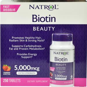 Viên-ngậm-hỗ-trợ-mọc-tóc-natrol-biotin-beauty-extra-strength-5000Mcg-250-viên