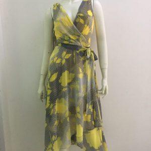 Đầm-nữ-công-sở-dự-tiệc-dạo-phố-cao-cấp-cổ-tim-màu-vàng-họa-tiết-hoa-hiệu-DKNY-size-2-hàng-xách-tay-mỹ