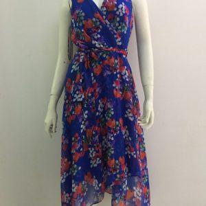 Đầm-nữ-công-sở-dự-tiệc-dạo-phố-cao-cấp-cổ-tim-màu-xanh-họa-tiết-hoa-hiệu-DKNY-size-4-hàng-xách-tay-mỹ