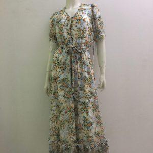 Đầm-nữ-công-sở-dự-tiệc-dạo-phố-vải-voan-cao-cấp-cổ-tim-màu-trắng-họa-tiết-hoa-hiệu-Calvin-Klein-size-4-hàng-xách-tay-mỹ
