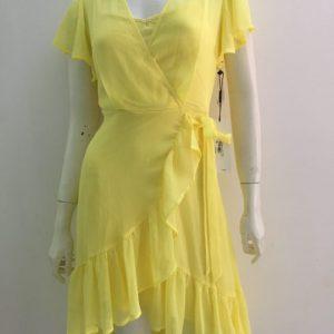 Đầm-nữ-công-sở-dự-tiệc-dạo-phố-vải-voan-cao-cấp-cổ-tim-màu-vàng-hiệu-Calvin-Klein-size-0-hàng-xách-tay-mỹ