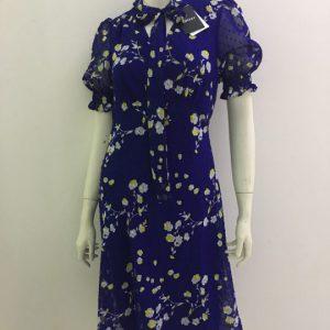 Đầm-nữ-công-sở-dự-tiệc-dạo-phố-vải-voan-cao-cấp-cổ-tim-màu-xanh-hoạt-tiết-hoa-thắt-nơ-hiệu-DKNY-size-2-hàng-xách-tay-mỹ