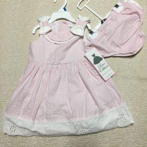 Đầm-xòe-công-chúa-bé-gái-2-tuổi-cotton-2-dây-thắt-nơ-không-tay-sọc-dọc-trắng-hồng-sợi-kim-tuyến-size-24M-hiệu-Rare-Editions-hàng-xách-tay-mỹ